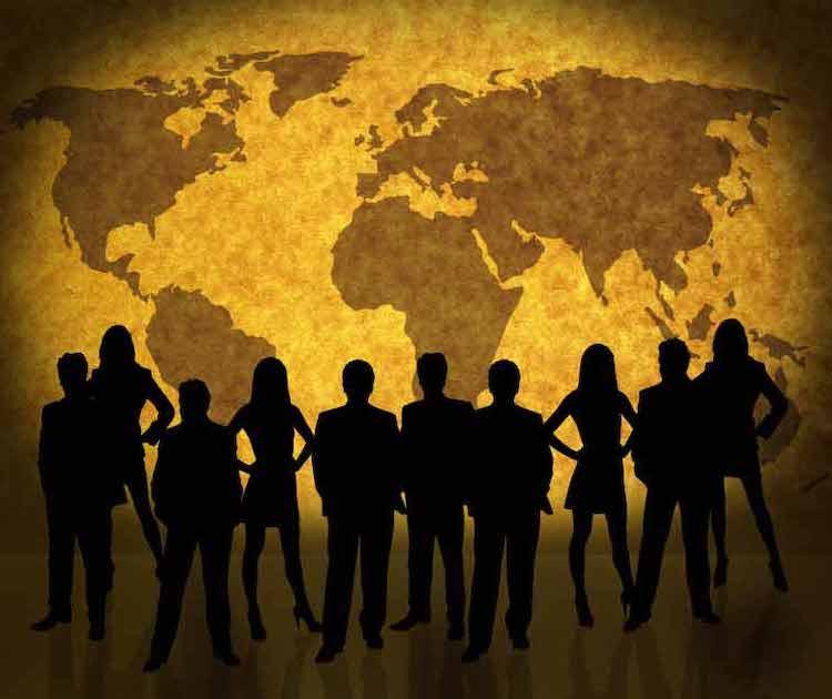 Weltkarte und Geschäftsleute